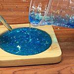 เรซิ่น เคลือบไม้ เรืองแสง สีฟ้า แม่น้ำ ใช้อีพ็อกซี่เรซิ่น วิธีผสม resin Howto